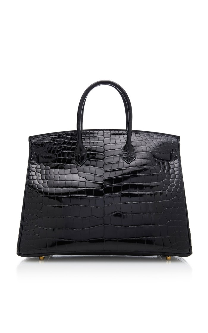 Hermes 35cm Black Porosus Crocodile Birkin