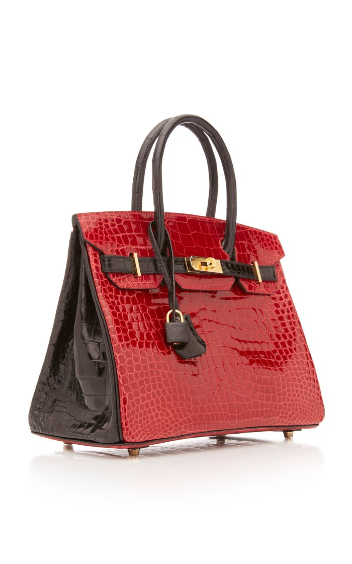 Hermes 30cm Shiny Briase and Black Porosus Crocodile Special Order Horseshoe Birkin