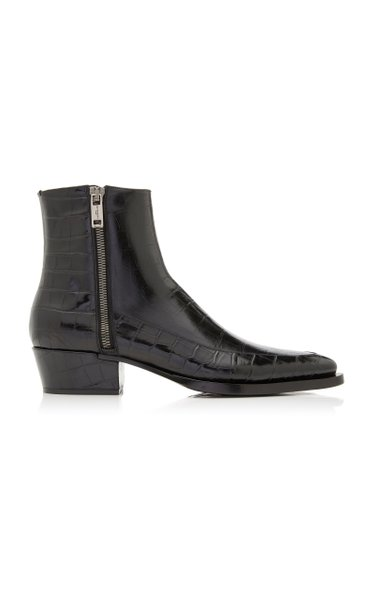 Dallas Croc-Effect Leather Boots