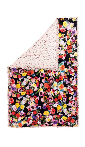 Decoupage Floral-Print Silk-Satin Eiderdown Comforter