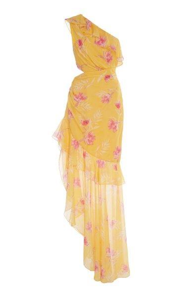 Vi One-Shoulder Floral-Print Silk Crepe De Chine Dress