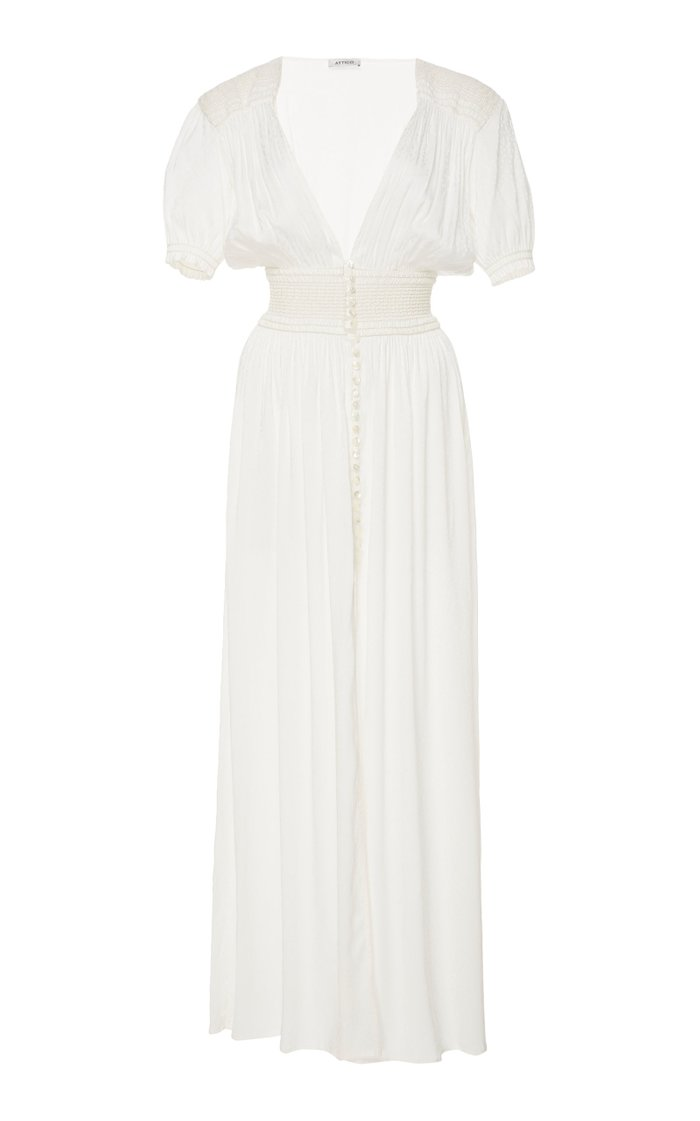 Floral-Jacquard Maxi Dress