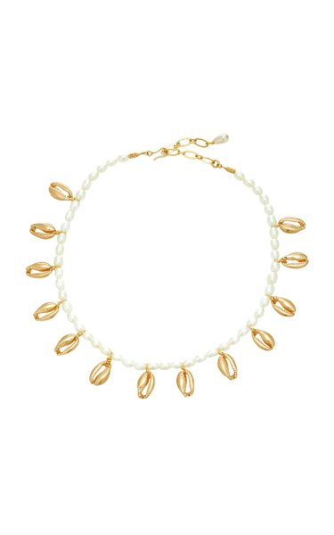 Blissed Out Gold-Plated Shell And Pearl Necklace
