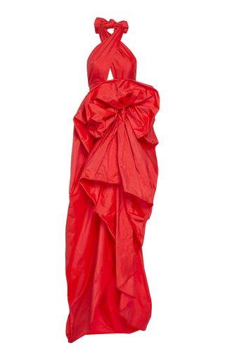 Haltered Neck Silk Dress