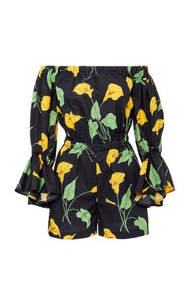 Off-The-Shoulder Floral-Print Cotton-Poplin Playsuit