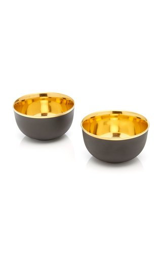 Set-Of-Two 24K Gold-Plated Porcelain Champagne Bowls