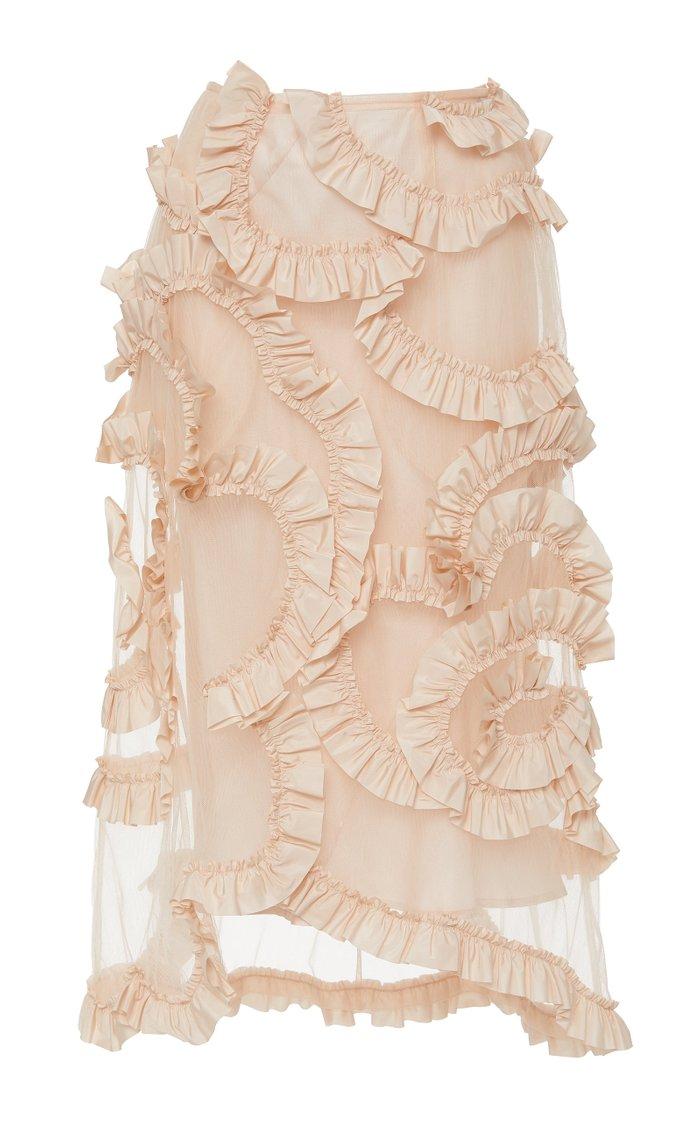 + Simone Rocha Ruffled Cotton-Chiffon Midi Skirt