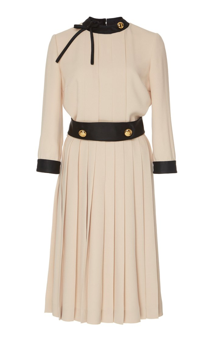 Button-Detailed Pleated Crepe Midi Dress