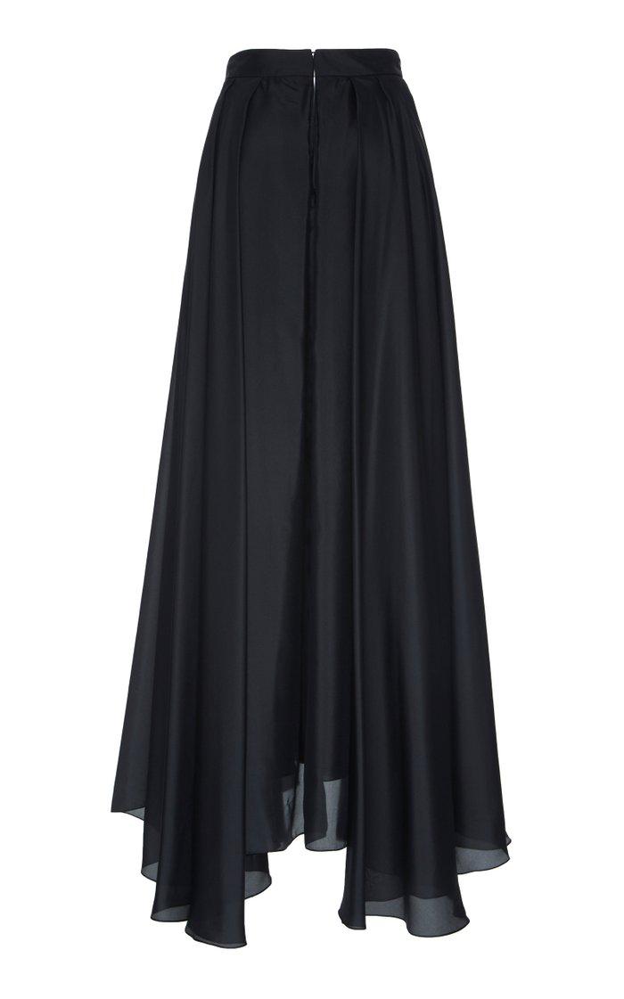 Habotai Pleated Silk Full Skirt