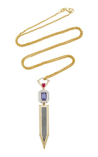 18K White And Yellow Gold, Enamel Multi-Stone Necklace