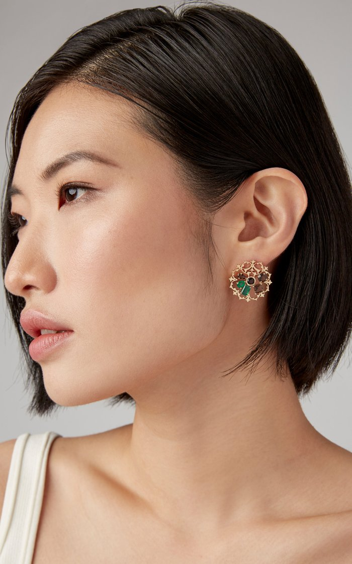 Tranquility Mismatched 18K Gold, Quartz and Emerald Earrings