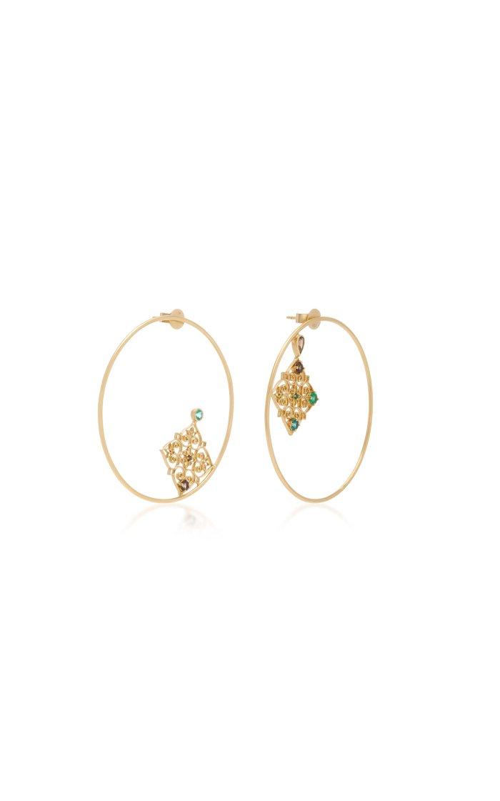 Hope 18K Gold, Quartz and Emerald Earrings