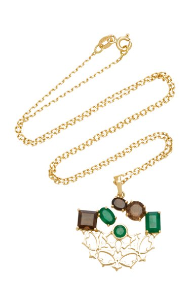 Respect 18K Gold, Quartz and Emerald Necklace
