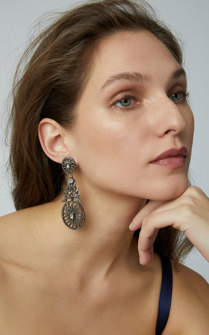 Oxidized Gold Diamond Earrings