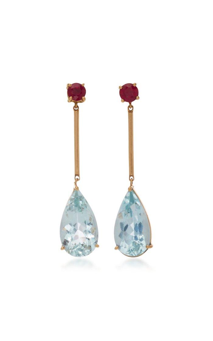 18K Gold, Aquamarine And Ruby Earrings