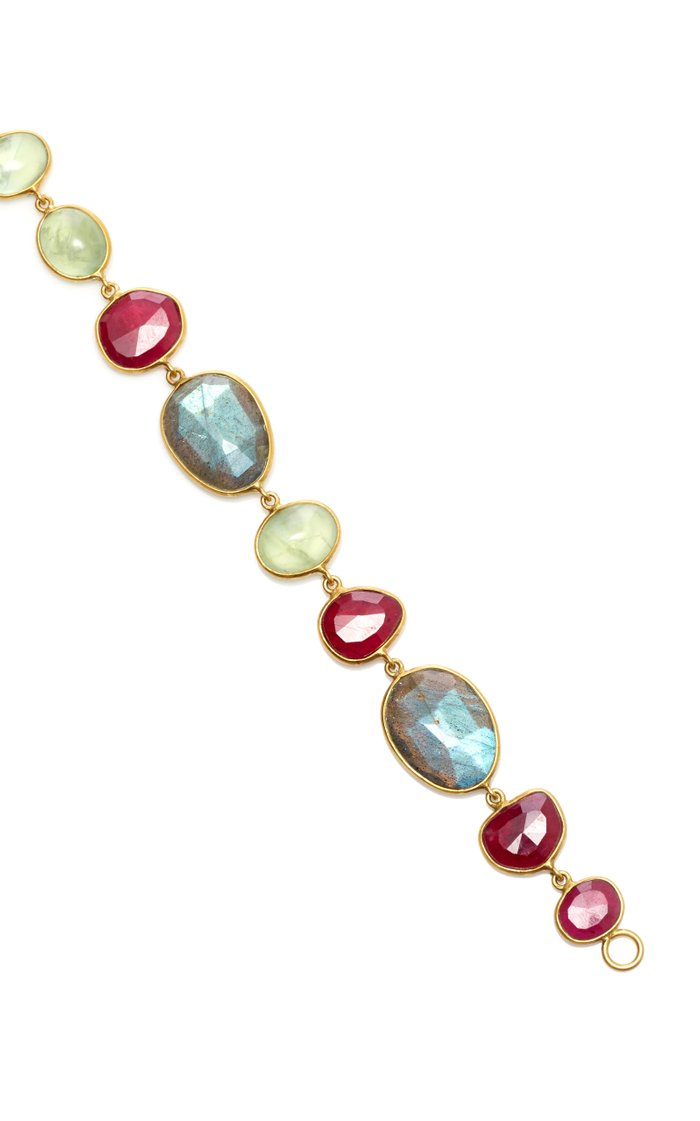 18K Gold, Labradorite, Praynite and Ruby Bracelet