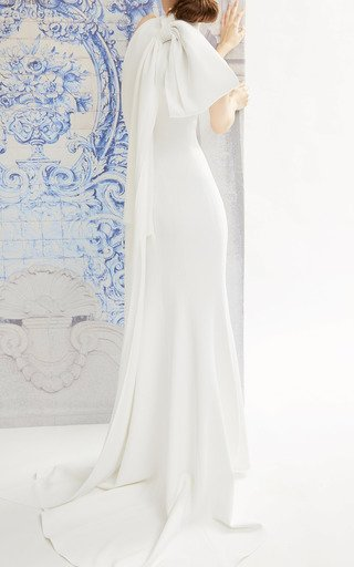 Iris Bow-Detailed Crepe Halterneck Gown
