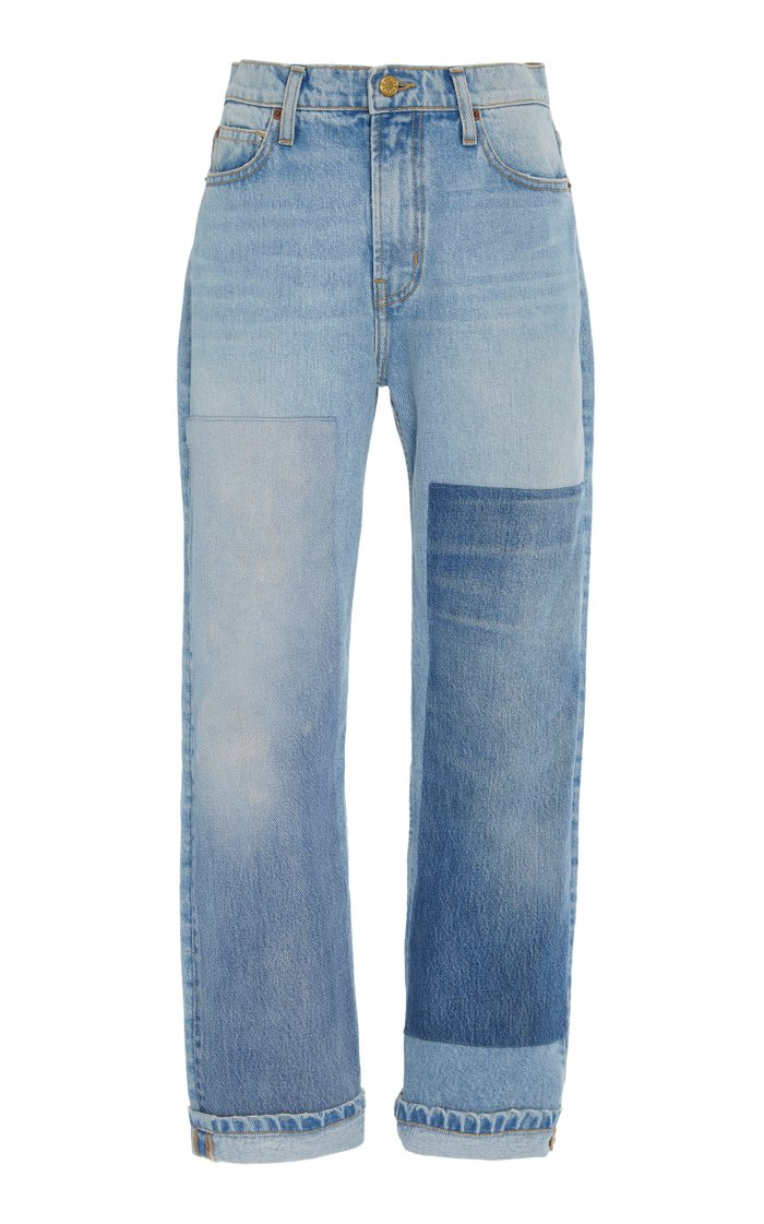 Arts Patchwork-Effect Mid-Rise Straight-Leg Jeans