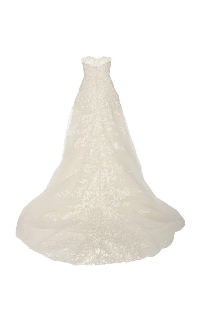 Charla Strapless Embroidered Silk Tulle Gown