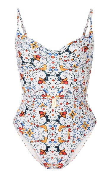 +WeWoreWhat Danielle Belted Printed Swimsuit