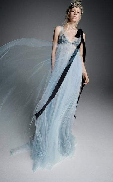 Athenais Tulle Empire Waisted Gown With Jeweled Bust