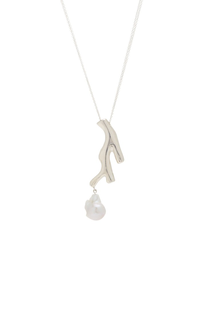Baroque Coral Sterling Silver and Pearl Pendant