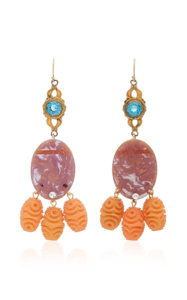 One-Of-A-Kind Gold-Plated Multi-Stone Earrings