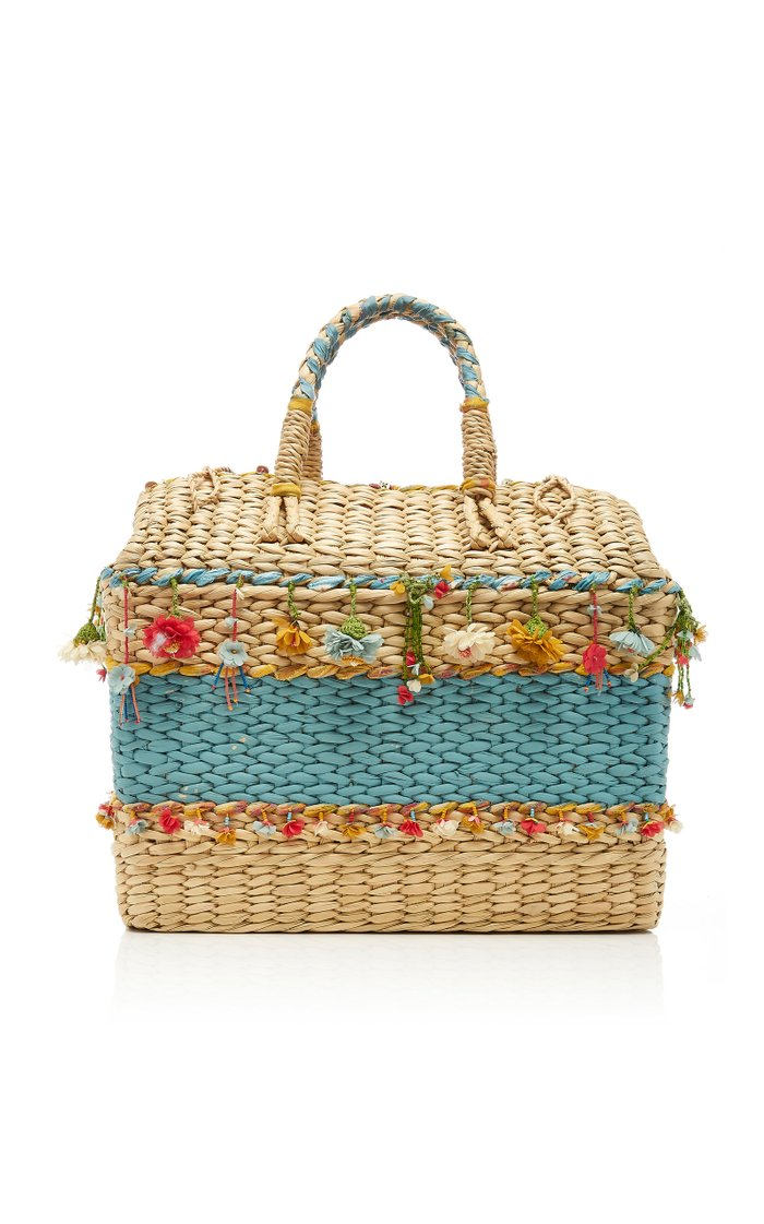 Striped Straw Basket Bag with Floral Accents