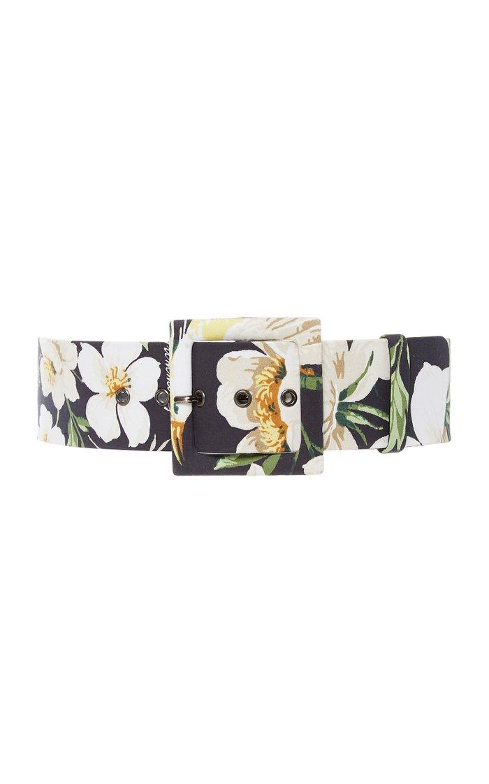 Midnight Garden Floral-Print Cotton-Blend Belt