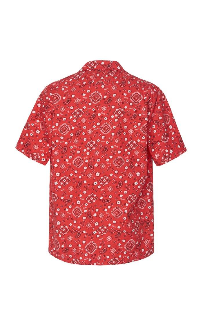Bandana-Print Jersey Hawaiian Shirt