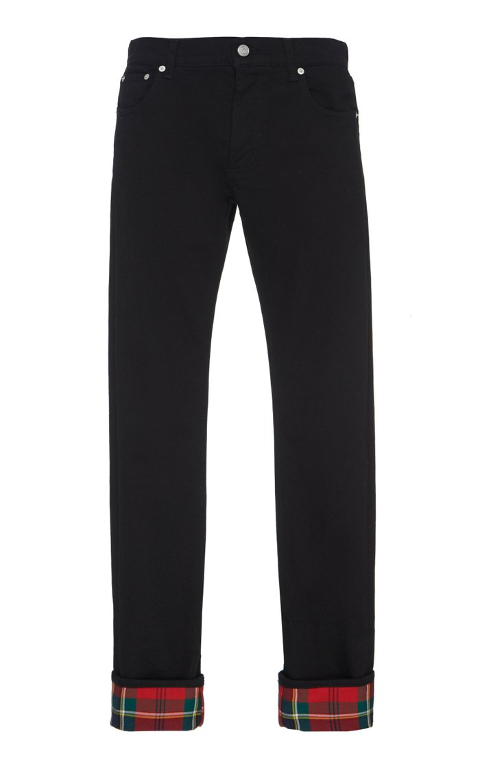 Tartan Cotton Twill-Lined Slim-Fit Jeans