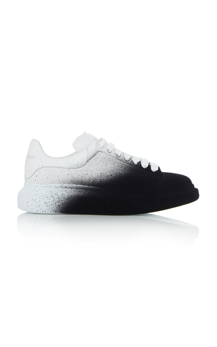 Two-Tone Leather Low-Top Sneakers