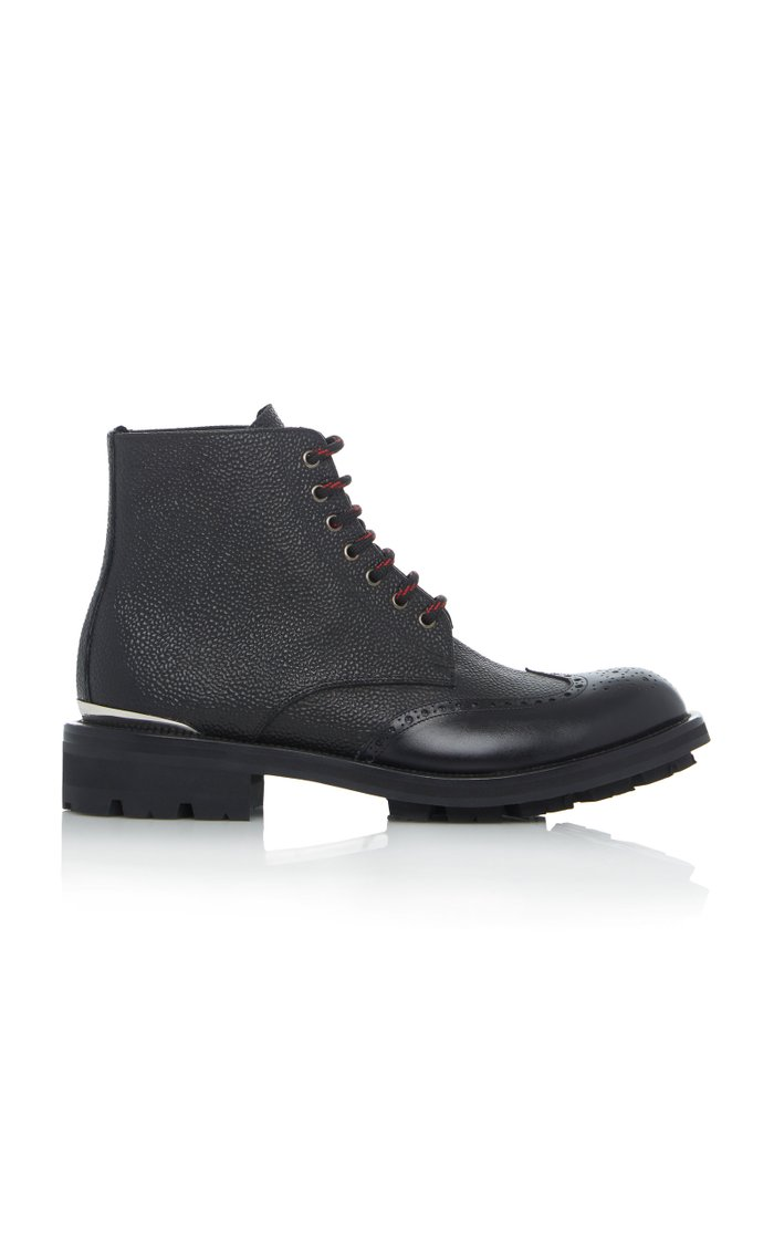 Textured Leather Brogue Boots