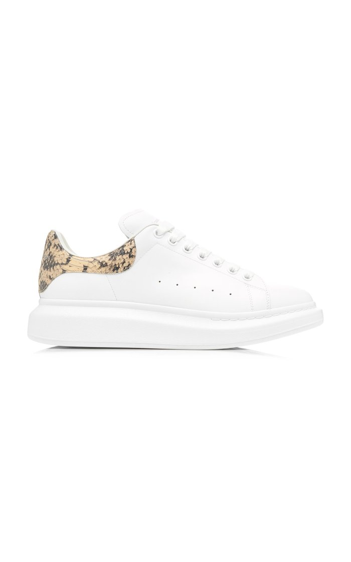 Python-Effect Trimmed Leather Sneakers