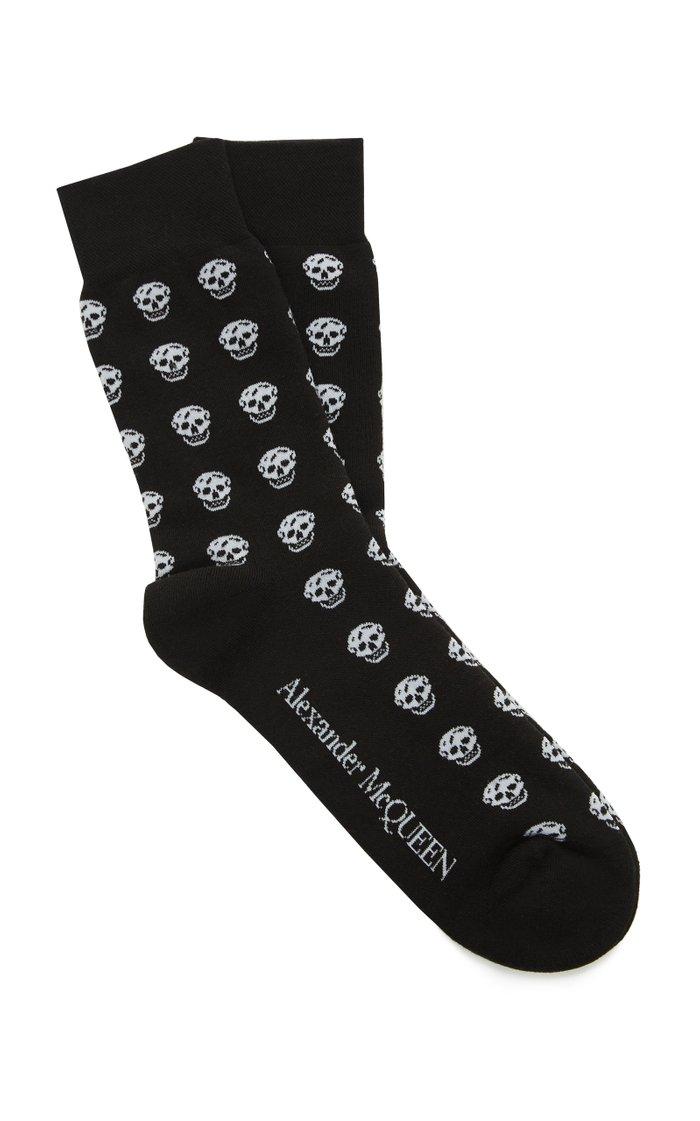 Skull-Print Cotton-Blend Socks