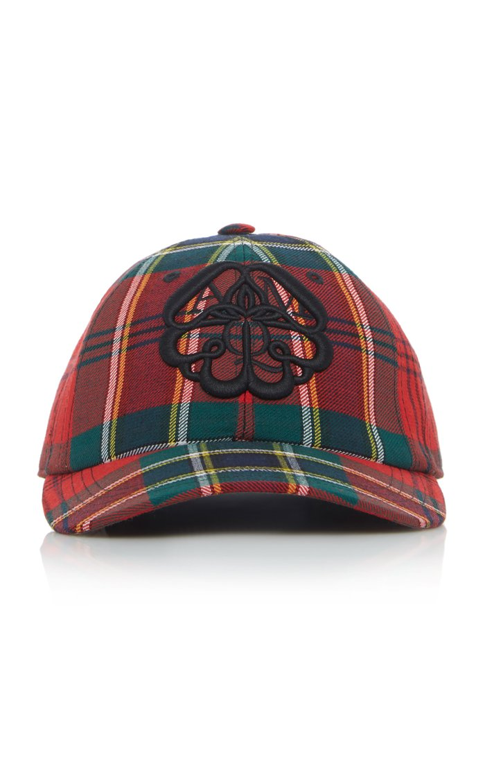 Embroidered Checked Twill Hat