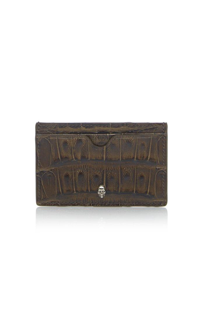 Croc-Effect Leather Cardholder