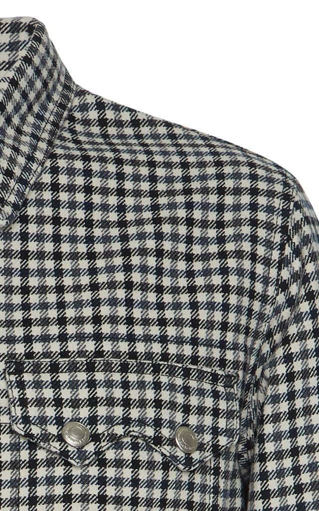 Plaid Wool-Blend Snap Jacket