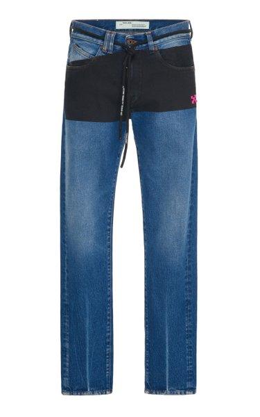 Paneled Slim-Fit Denim Jeans