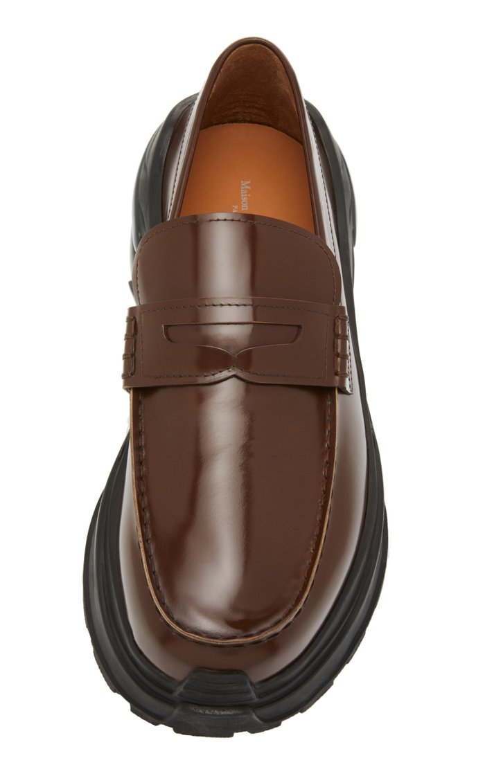 Cross Leather Penny Loafers