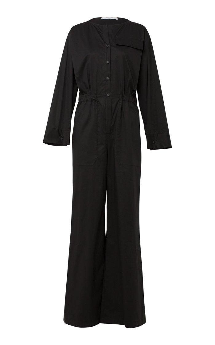 Effortless Modernity Wide-Leg Cotton-Blend Jumpsuit