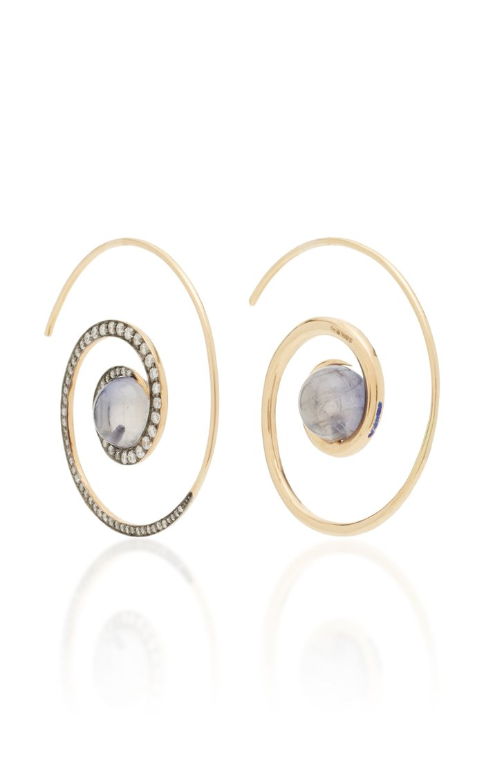Spiral Moon 18K Gold Diamond And Iolite Earrings