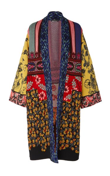 Maglia Floral-Print Crepe Robe