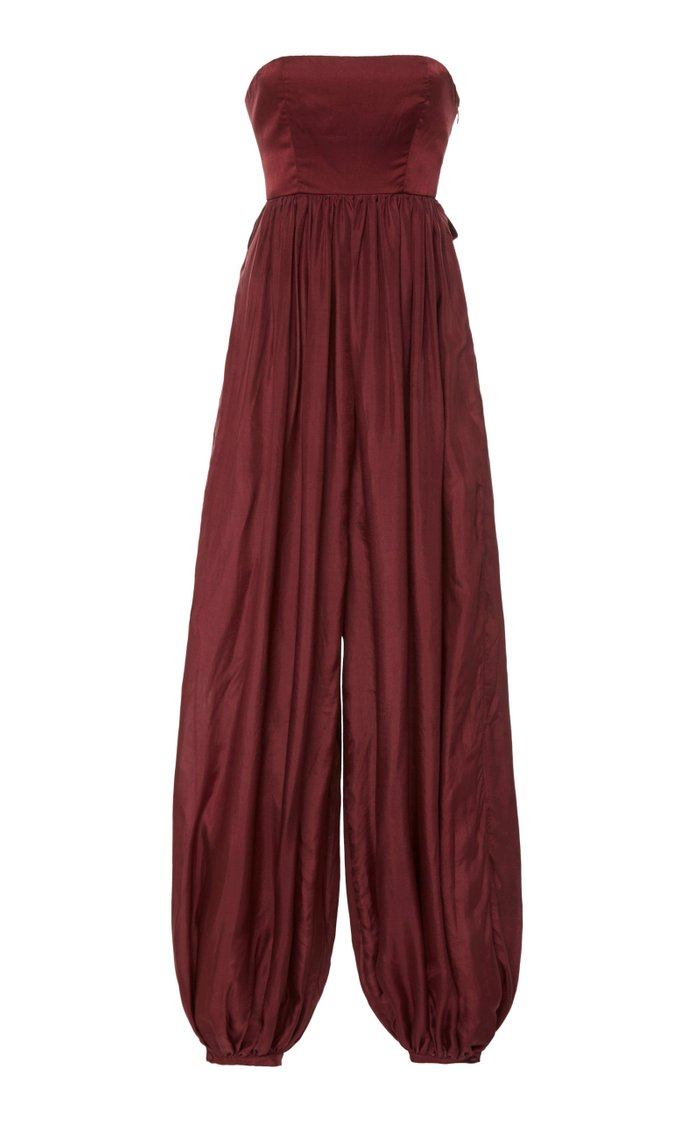 Solstice Strapless Silk And Cotton Jumpsuit