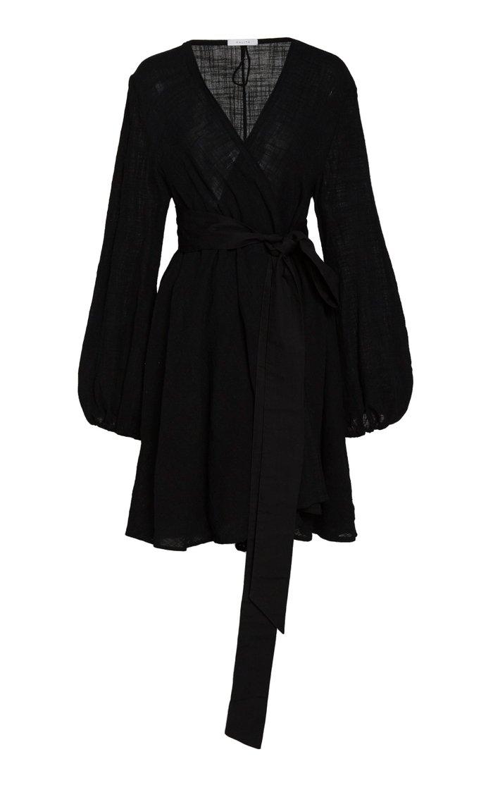 Gaia Cotton Gauze Wrap Mini Dress