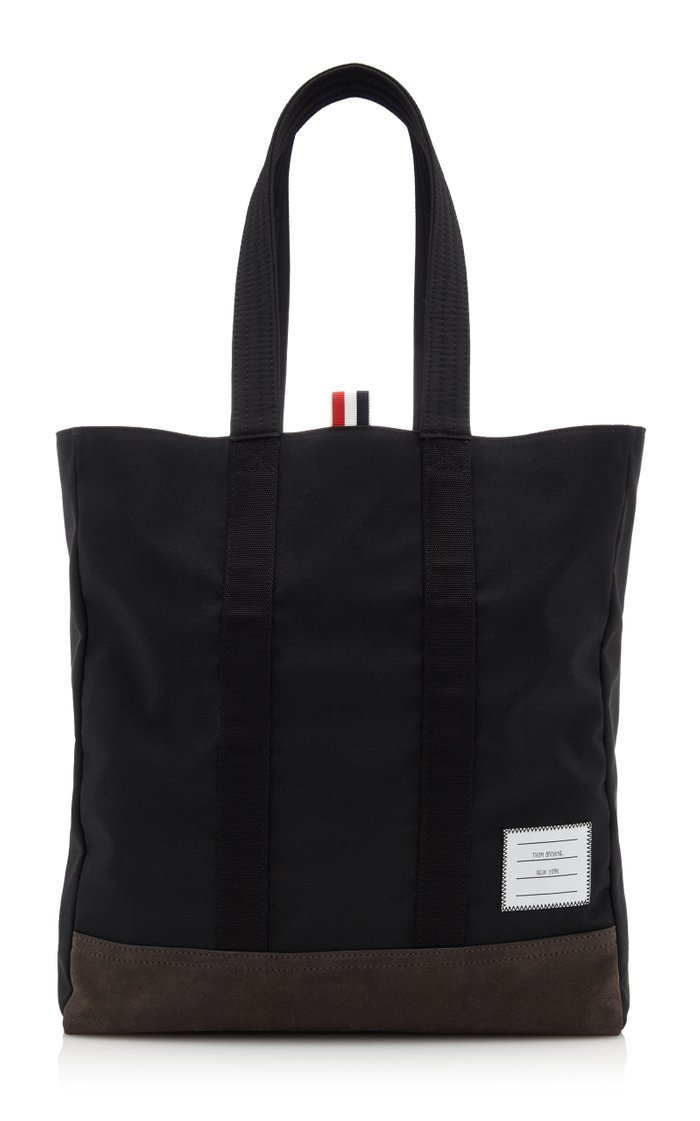 Suede-Trimmed Shell Tote