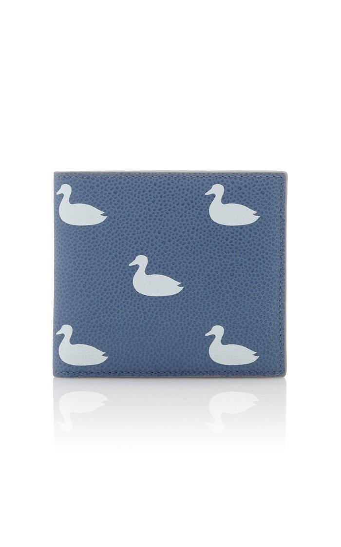 Duck-Print Pebble-Grain Leather Billfold Wallet