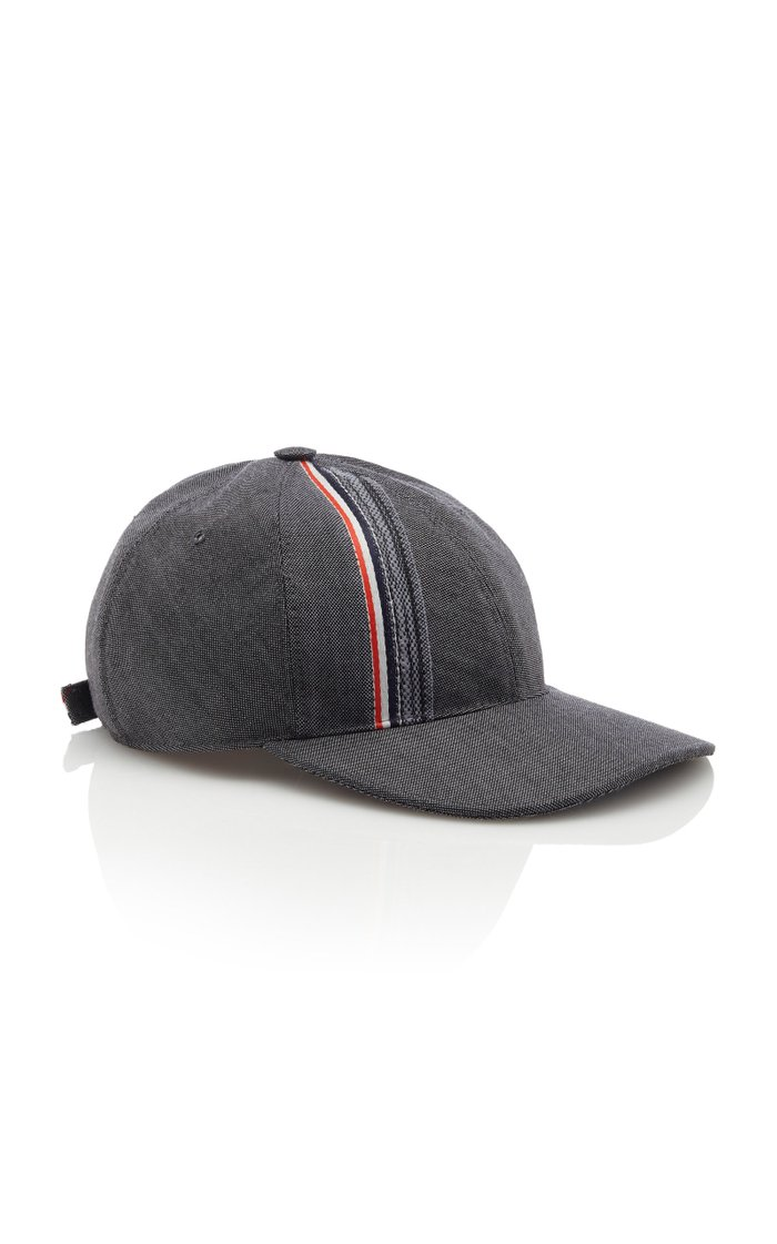 Striped Wool And Mohair Baseball Cap