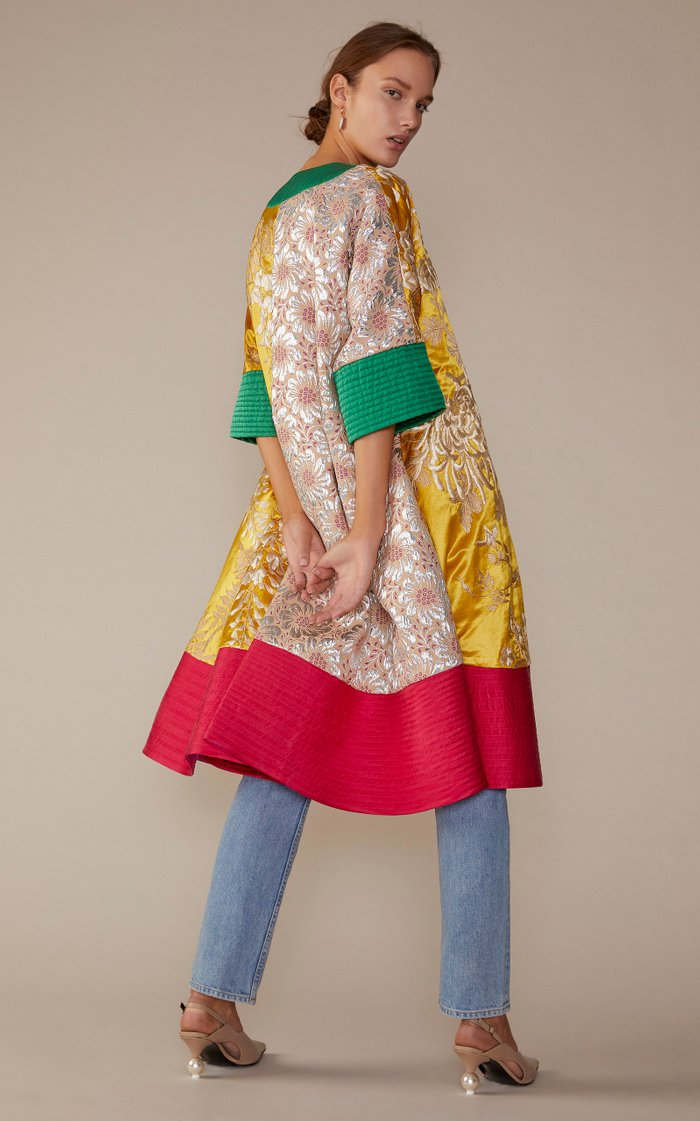 Exclusive Paneled Brocade And Duchess Silk-Satin Coat