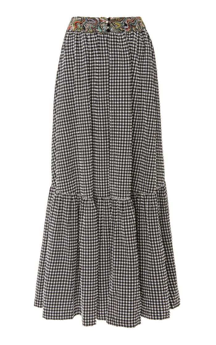 Gingham Seersucker Maxi Skirt